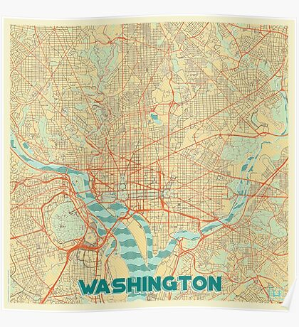 Washington Map Retro Poster
