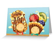 Cream Puffelia & Fruit Tartelia Greeting Card