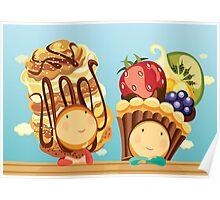 Cream Puffelia & Fruit Tartelia Poster