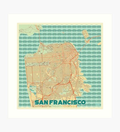 San Francisco Map Retro Art Print
