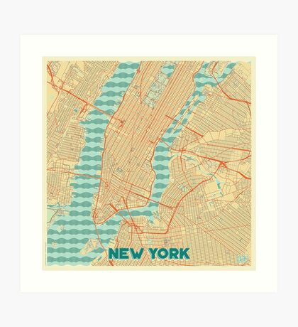 New York Map Retro Art Print