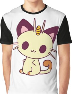 Kawaii Chibi Meowth Cat Graphic T-Shirt