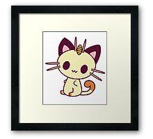 Kawaii Chibi Meowth Cat Framed Print