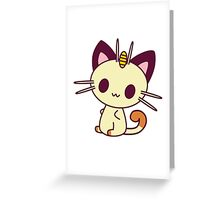 Kawaii Chibi Meowth Cat Greeting Card