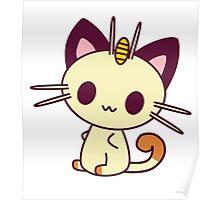 Kawaii Chibi Meowth Cat Poster