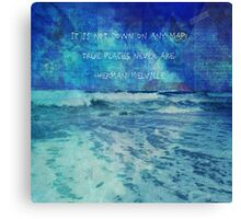 Seascape with Herman Melville Quote Canvas Print