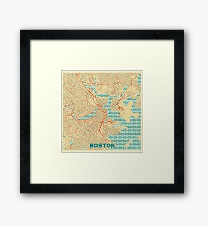 Boston Map Retro Framed Print