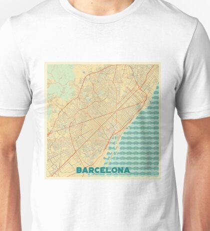 Barcelona Map Retro Unisex T-Shirt