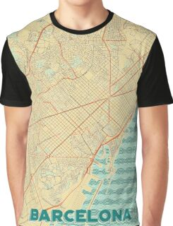 Barcelona Map Retro Graphic T-Shirt