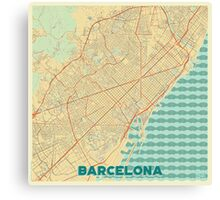 Barcelona Map Retro Canvas Print