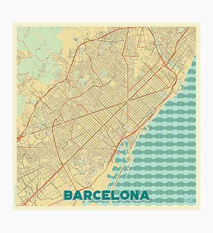 Barcelona Map Retro Photographic Print