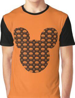 Mickey Silhouette Halloween Pumpkin Pattern Graphic T-Shirt