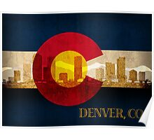 Denver Skyline Silhouette on Colorado State Flag Background Poster