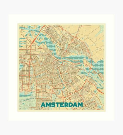 Amsterdam Map Retro Art Print