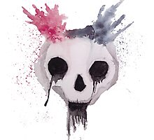 Creepy Watercolor Skull Photographic Print