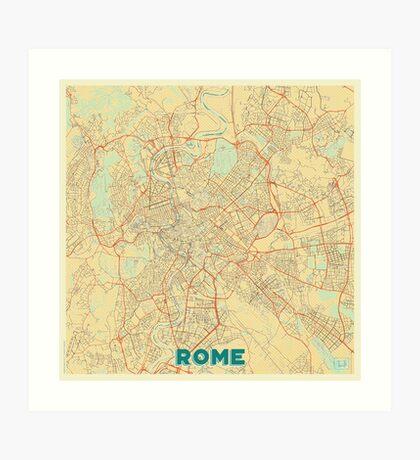 Rome Map Retro Art Print