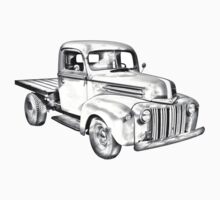 1947 Ford Flat Bed Pickup Truck Illustration One Piece - Short Sleeve