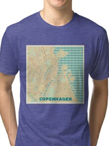 Copenhagen Map Retro Tri-blend T-Shirt