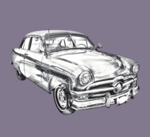 1950 Ford Custom Deluxe Classsic Car Illustration Kids Tee