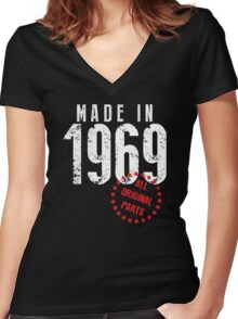 Made In 1969, All Original Parts Women's Fitted V-Neck T-Shirt