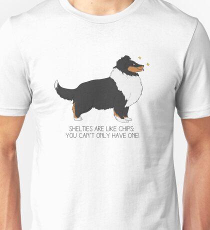 Shelties are like Chips - Black Tri Unisex T-Shirt