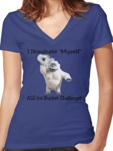ALS Ice Bucket Challenge Bumble Women's Fitted V-Neck T-Shirt