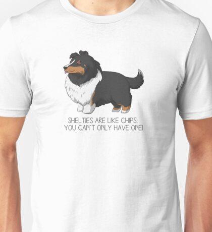 Shelties are like Chips Cartoon - Black Tri Unisex T-Shirt