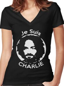 Je Suis Charlie Manson Women's Fitted V-Neck T-Shirt