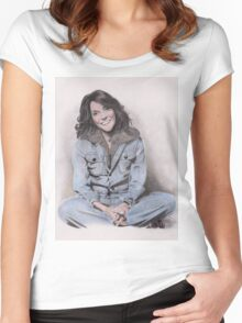 Karen Carpenter Tinted Graphite Drawing Women's Fitted Scoop T-Shirt