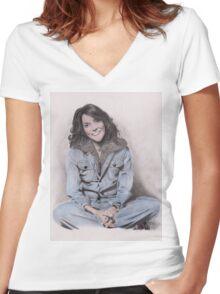 Karen Carpenter Tinted Graphite Drawing Women's Fitted V-Neck T-Shirt
