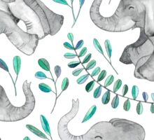 Laughing Baby Elephants – emerald and turquoise Sticker