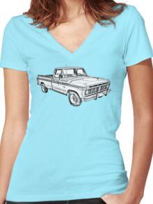 1975 Ford F100 Explorer Pickup Truck Illustrarion Women's Fitted V-Neck T-Shirt