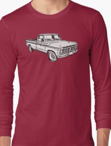 1975 Ford F100 Explorer Pickup Truck Illustrarion Long Sleeve T-Shirt