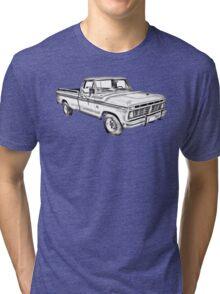 1975 Ford F100 Explorer Pickup Truck Illustrarion Tri-blend T-Shirt