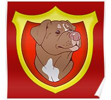Pit Bull Pride - Red with Crest Poster