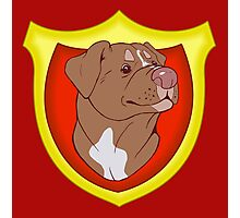 Pit Bull Pride - Red with Crest Photographic Print
