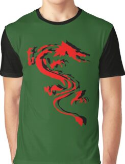3D Double Dragon Silhouette Graphic T-Shirt