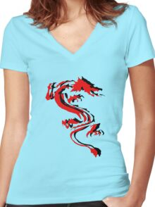 3D Double Dragon Silhouette Women's Fitted V-Neck T-Shirt