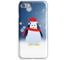 Cute Penguin w Red Santa Hat Christmas Snow Stars iPhone Case/Skin