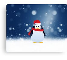 Cute Penguin w Red Santa Hat Christmas Snow Stars Canvas Print