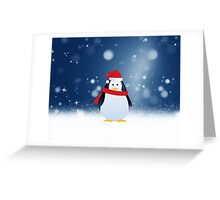 Cute Penguin w Red Santa Hat Christmas Snow Stars Greeting Card