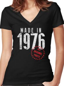 Made In 1976, All Original Parts Women's Fitted V-Neck T-Shirt