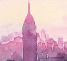 A Pink Sunset in New York Sticker
