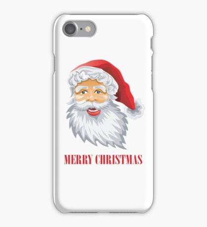 Cute Santa Claus Wishing Merry Christmas iPhone Case/Skin
