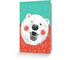 Rosy Cheeks Polar Bear in Snow Greeting Card