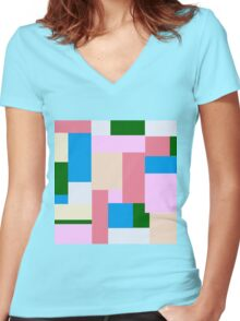 Block,pattern,geometric,abstract,contemporary art Women's Fitted V-Neck T-Shirt