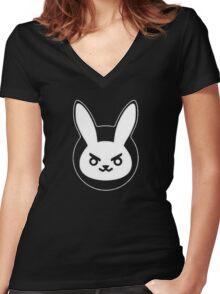 Determined White Rabbit Women's Fitted V-Neck T-Shirt