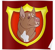 Pit Bull Pride- Red Point with Crest Poster
