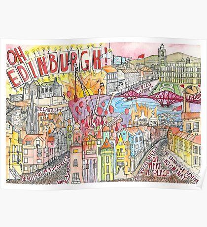 Illustrated Map drawing of Edinburgh Poster