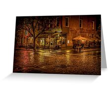 Rain On The Cobblestones Of Greenwich Village Greeting Card
